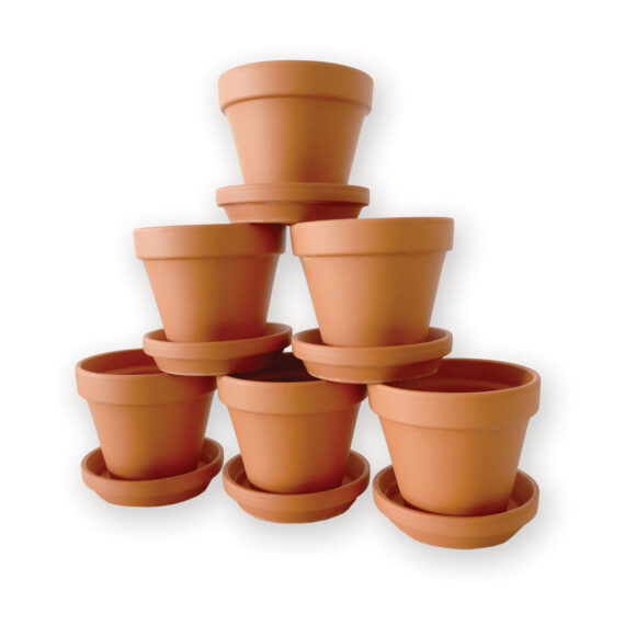 stacked terra cotta pots succulents
